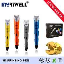 Myriwell 3d Auténtica pluma Compatible 1.75mm Filamentos ABS impresora 3d Pen Niños Regalos Creativos 3D Estéreo de uñas Pluma de Dibujo gratis