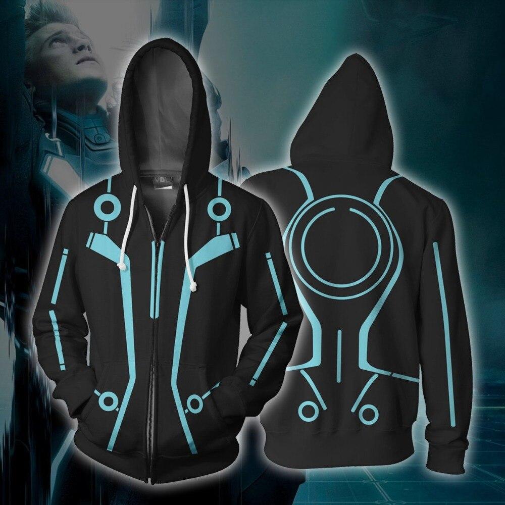 Tron: Legacy Sam Flynn Costume Hoodie Cosplay Anime Hoodie Sweatshirts 3D Men New