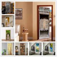 Retro Bar Door Self-adhesive Wallpapers For Wooden Door Renovation DIY PVC Stickers on Door Waterproof Entrance Decoration Decal