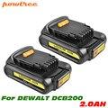 Powtree 2 шт. для Dewalt 20V DCB200 запасная батарея MAX литий-ионный аккумулятор 2.0Ah DCB204 DCB101 DCF885 DCB205 BCD203