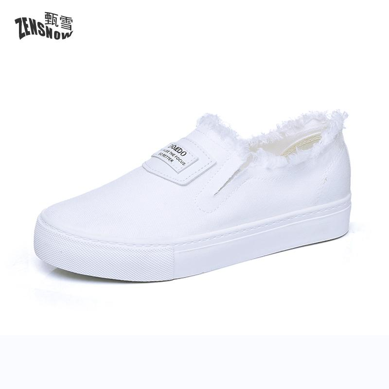 2017 New Summer White Canvas Shoes  All-match Student Pedal Slip-on Women's shoes new summer