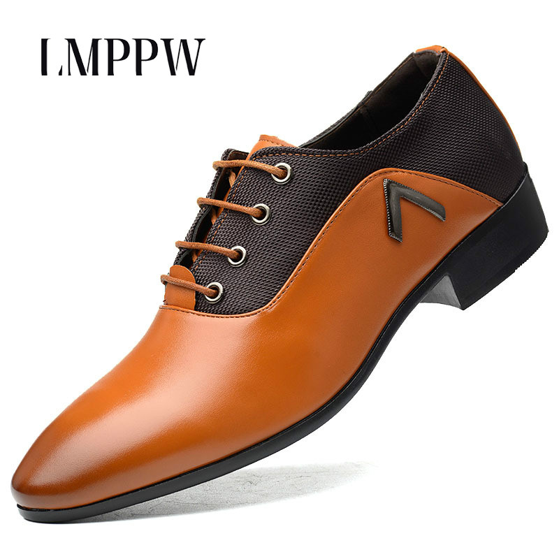 Dropshipping Men's Business Dress Shoes Large Size Men Formal Leather Shoes Lace-up Men Oxford Shoes Pointed Toe Flat Shoes 2A new brand designer formal men dress shoes lace up business party oxfords shoes for men pointed toe brogues men s flats plus size