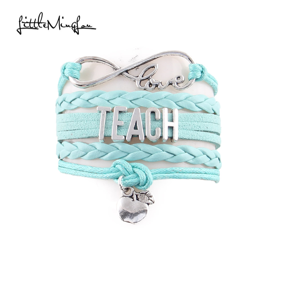 Little Minglou Infinity Love TEACH bracelet apple charm leather wrap men bracelets & bangles for women jewelry teachers gift