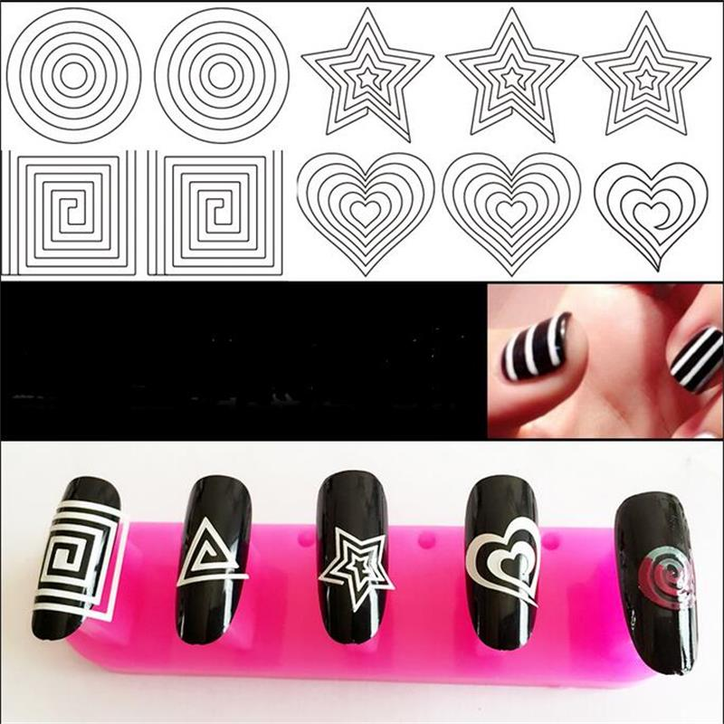 24 Styles French Manicure DIY 3D Nail Art Tips Guides Stickers Stencil Strip Nail hollow stickers nail art beauty girl 2017 wholesale excellent 48bottles 3d decal stickers nail art tip diy decoration stamping manicure nail gliter