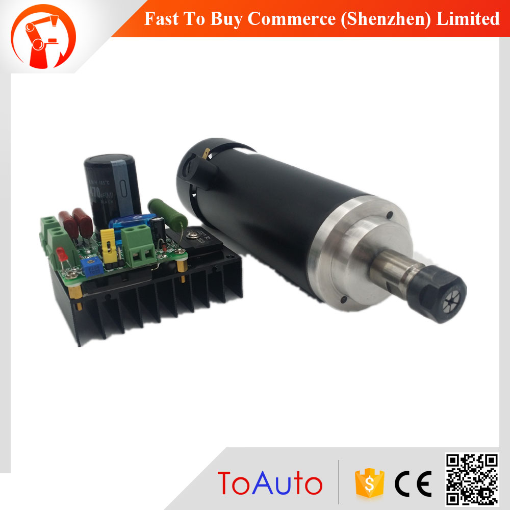 450W CNC DC Spindle Motor and Speed Control Board 48VDC 12000RPM DC Air Cooling 0.42NM ER11 for DIY Carving PCB Milling Machine dc48v 400w 12000rpm brushless spindle motor air cooled 529mn dia 55mm er11 3 175mm for cnc carving milling