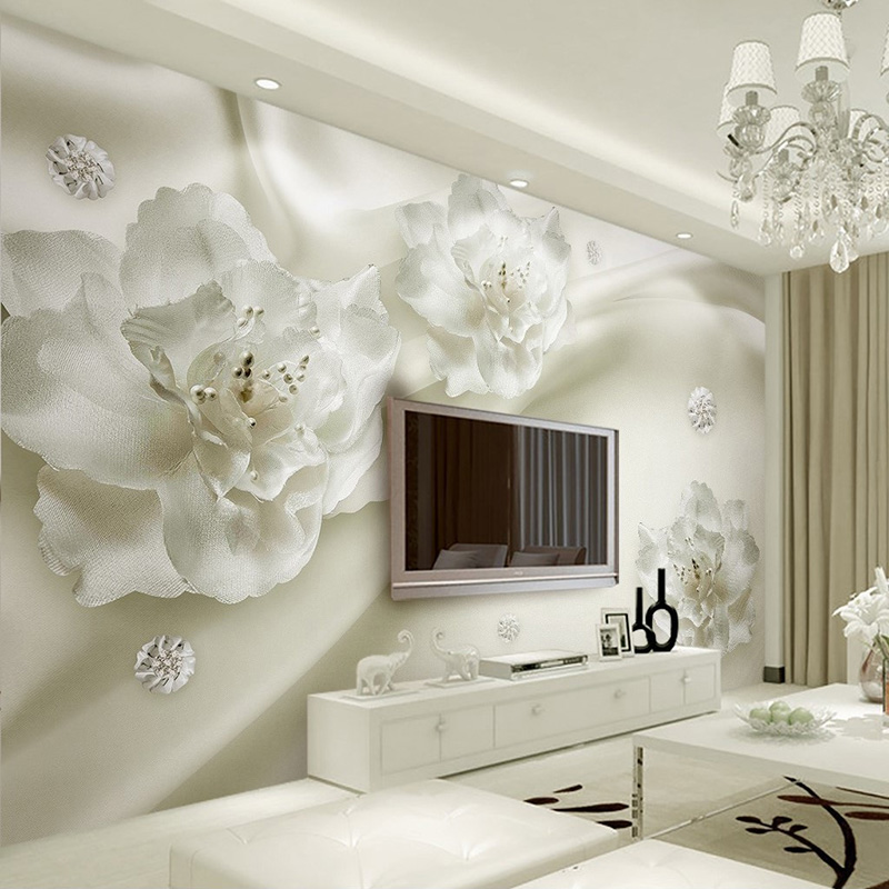 Photo Wallpaper European Style 3D Stereo Relief White Flowers Silk Wallpaper Hotel Living Room Interior Luxury Home Decor Murals