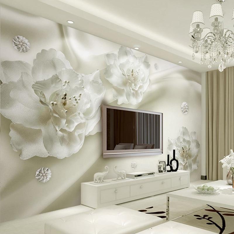 Photo Wallpaper European Style 3D Stereo Relief White Flowers Silk Wallpaper Hotel Living Room Interior Luxury Home Decor Murals
