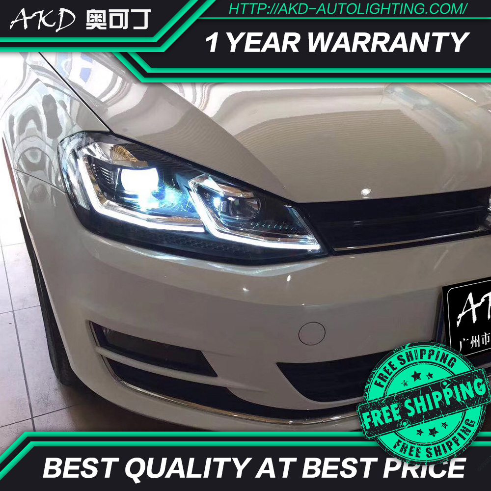AKD tuning cars Headlight For VW Golk7 Golf 7 MK7 Update to Golf 7.5 Headlights LED DRL Running lights Bi Xenon Beam Fog lights