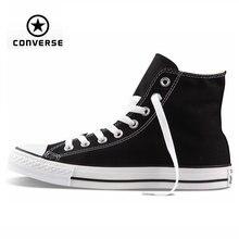 Original Converse all star de los hombres altos de las mujeres zapatillas de lona para los hombres negro de alta Zapatos de Skate clásico