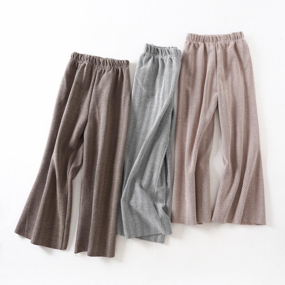 High Quality Woolen   Wide     Leg     Pants   Women New Winter Autumn Elastic Waist Herringbone Wool Ladies Trousers Pantalon Mujer f210