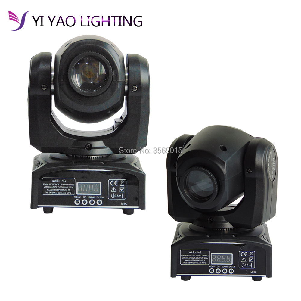 цена на 2pcs/lot moving led 10W mini led spot moving head light Mini Moving Head Light 30W DMX dj 7 gobos effect stage