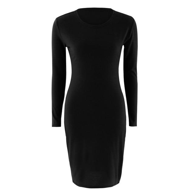 basic zwarte jurk lange mouw