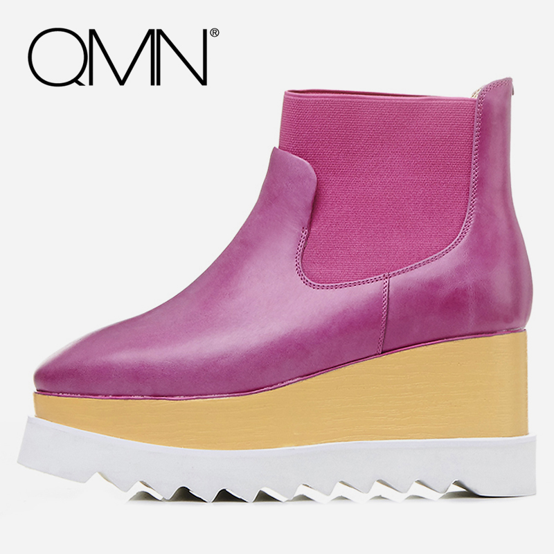 QMN women genuine leather ankle boots for Women Square Toe Fashion Platform Boots Winter Shoes Woman Basic Boots Botas 34-42 qmn women crystal embellished natural suede brogue shoes women square toe platform oxfords shoes woman genuine leather flats