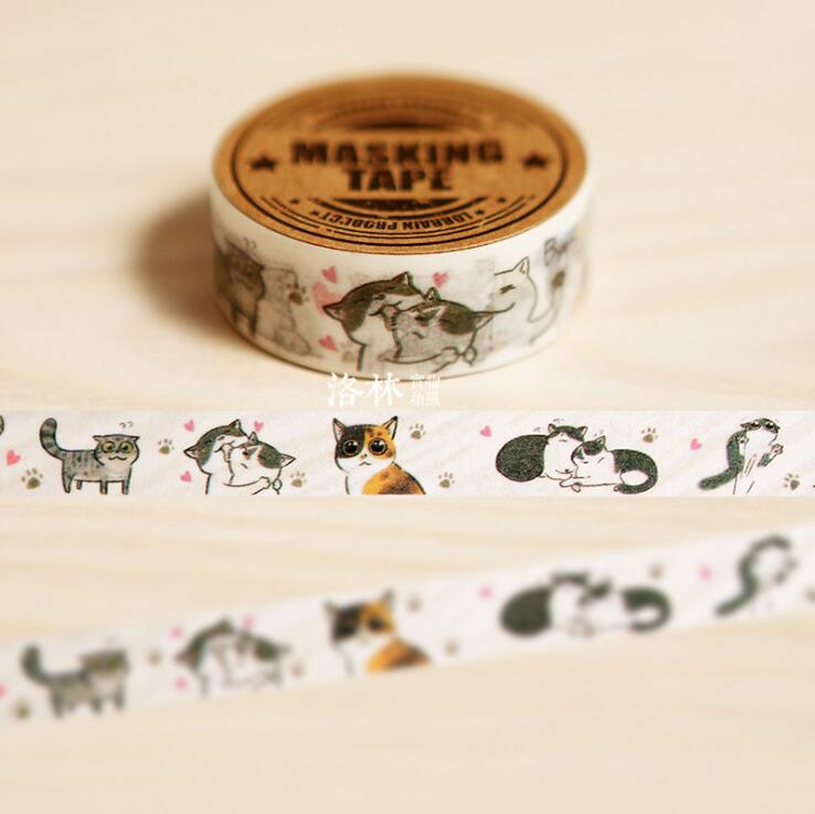 1.5CM Wide Cute Mewo Cat Animal Hand-Drawn Washi Tape DIY Scrapbooking Sticker Label Masking Tape School Office Supply je307 1 5cm wide amazing library books washi tape diy scrapbooking sticker label masking tape school office supply