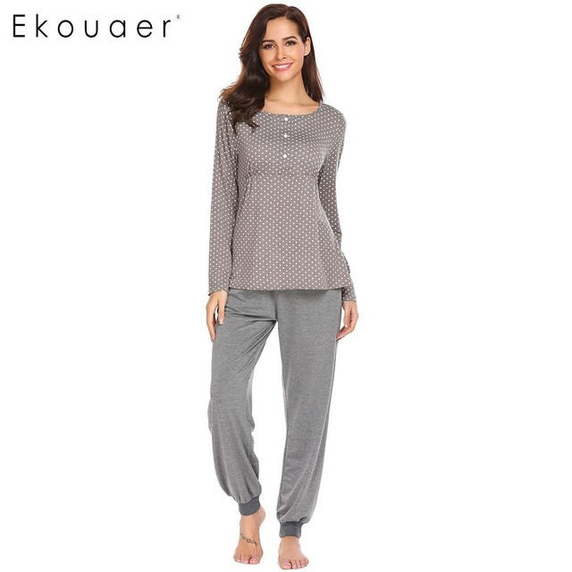 Ekouaer Women Sleepwear Pajamas Set V-Neck High Waist Long Sleeve Pot Dot  Print Pants Pajama Set Spring Autumn Female Nightwear ba79b6a7b