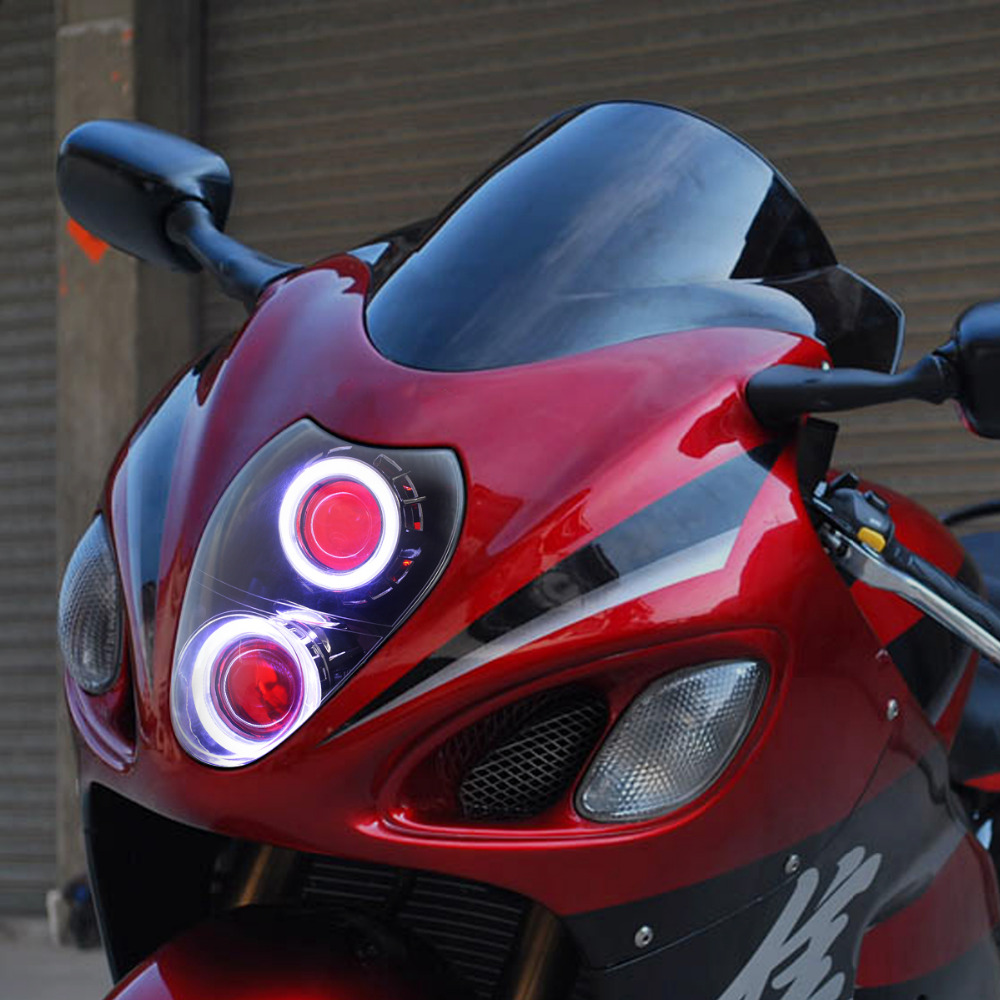 Kt headlight for suzuki hayabusa led angel eye red demon eye motorcycle hid  projector assembly on