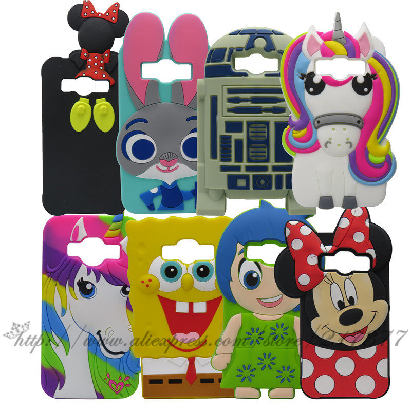 Samsung Galaxy J1 Ace J110 3D Silicon Stitch Unicorn cake Minnie Sulley R2D2 Cartoon Back Case Cover - Mobile Phone and Retail Center store