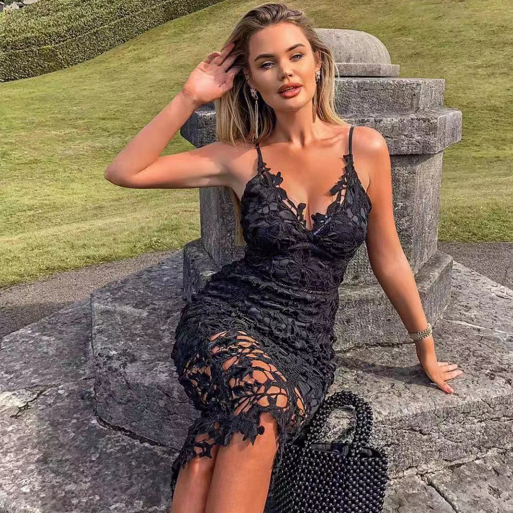 Tosheiny 2019 Women Sexy V Neck Off Shoulder Lace Hollow Out Dresses Female Solid Color Knee