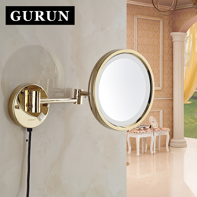 Gurun LED Makeup Mirror-Fashion The bracket can be folded and the mirror can be flipped 10X LED mirror magnifying M1807DJ the mirror test