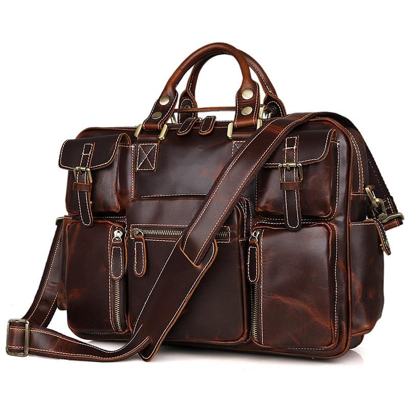 J.M.D Cowhide Genuine Leather Men S Sac Multi Pocket Large Capacity ... 769533ba21850