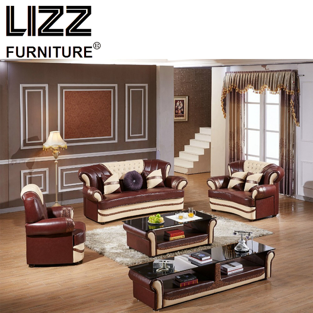 Corner Sofas Living Room Sets Modern Leather Sectional Sofa Group With Side  Table+Coffee Table