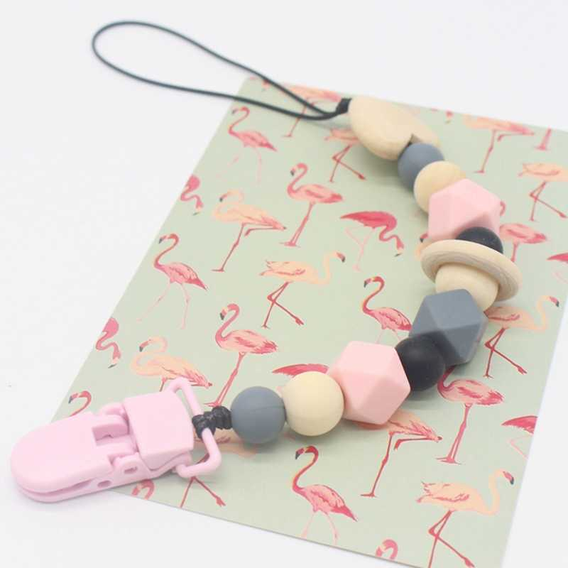 Silicone Dentizione Ciuccio Pinze Con Cassetta di Sicurezza ABS Perle di Silicone Ciuccio Catena di Supporto Per Capezzoli Del Bambino Giocattoli di Masticazione