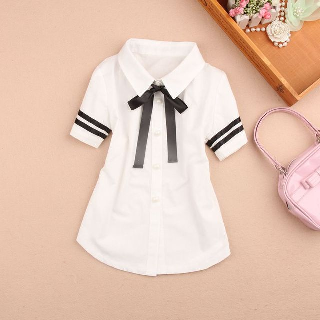 f70417f869ff 2-15Y Summer Baby Teenage Girls Blouse Child White Bow Short Sleeve School  Girl Blouses Tops Fashionable Shirts For Kids JW1818