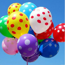 100pcs / lot 15 color polka dots balloons wedding marry marriage room decoration is 12 inches round balloon classic toys
