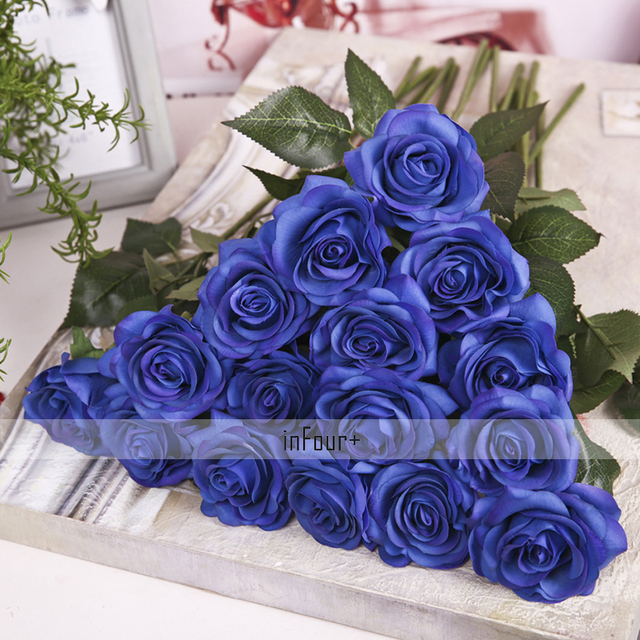 Blue valentines day gifts real touch flowers rose silk flowers blue valentines day gifts real touch flowers rose silk flowers latex artificial flowers for mightylinksfo Images