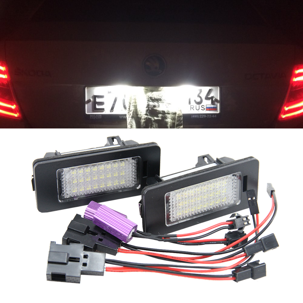 1 Pair 12V Canbus LED Number License Plate Light Fit for SKODA Octavia 3 Superb B6 Combi Rapid Spaceback Yeti Fabia Mk3 No Error