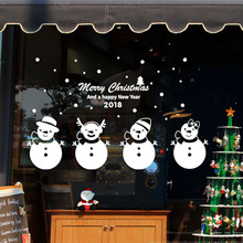 PVC Removable Christmas Decoration Wall Store Shop Window Sticker New Year Mural Vinyl Decal For Kids Room Home Decor F1016