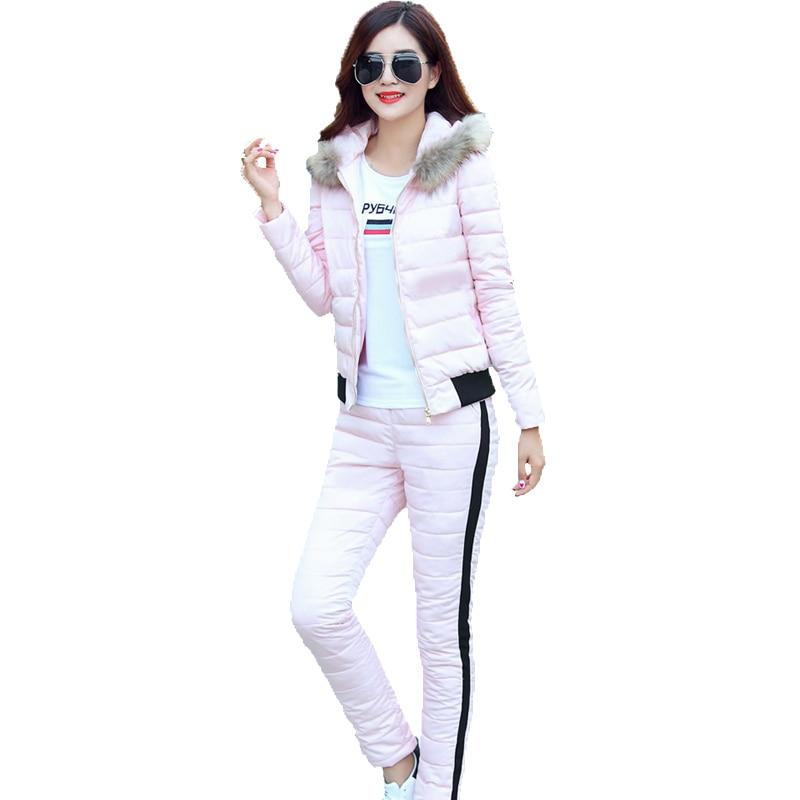 2019 New Fashion Autumn Winter Women Warm Set Hooded Coat+Pant Tracksuit Two Piece Set Female Down Cotton Jacket Suit For Women