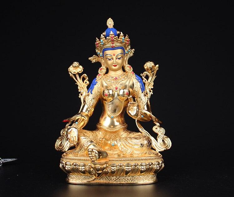 Cuivre pur, bouddhisme tibétain, statue de Tara verte, sculpture en bronze de bouddha, figure bouddhiste, figurine de Bodhisattva Tara ~