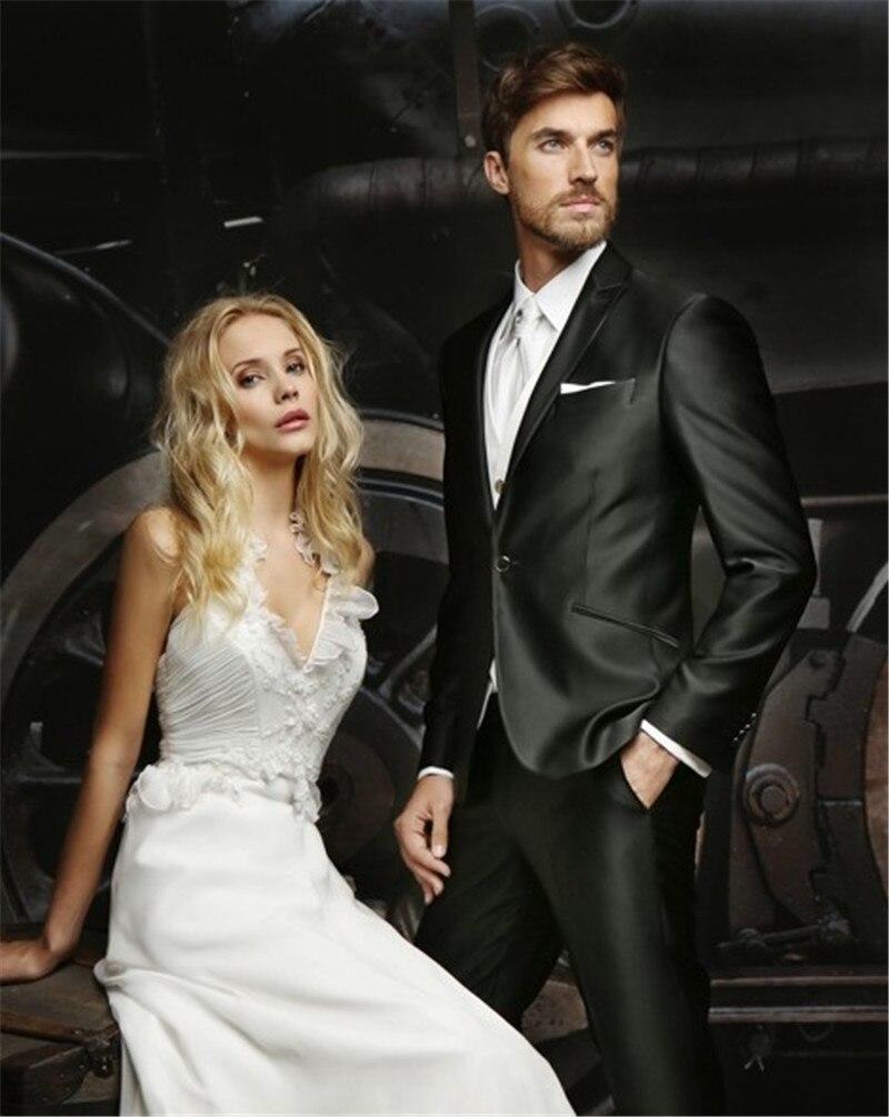 Custom design suit black wedding suit men's slim fit groom tuxedo formal  men's suit 3 pieces wedding dress