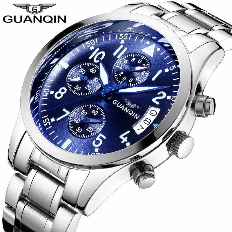 GUANQIN New Sport Watches Luxury Multifunction Quartz Watch men Chronograph Calendar Luminous Male Clock Steel Relogio