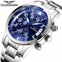 GUANQIN 2018 New Sport Men Watches Luxury Multifunction Quartz Watch Chronograph Calendar Luminous Male Clock Relogio