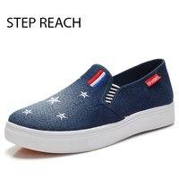 Fashion Denim Shoes Women Slipony Comfortable Breathable Canvas Shoes Women Casual Shoes Female Footwear Flat Moccasins