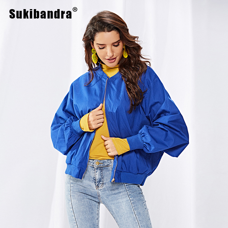 Sukibandra Autumn 2018 Casual Blue Oversized Woman Bomber   Jacket   Women Fall Ladies Windbreaker Streetwear Coat   Basic     Jackets