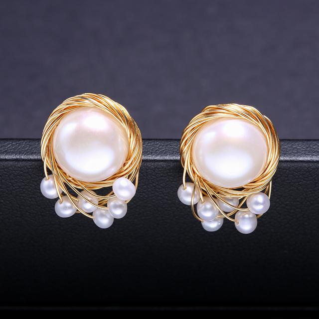 DAIMI Vintage Pearl Earrings Handmade Jewelry 13-14mm Large Freshwater Pearl Studs Earrings Luxury Jewelry