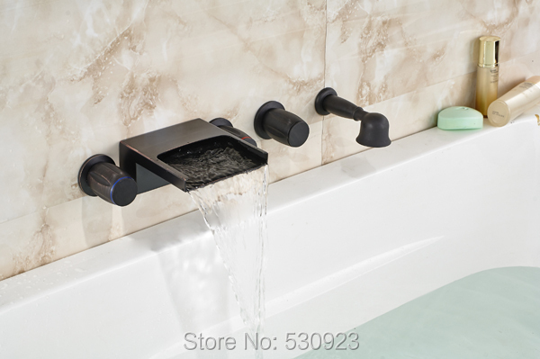 New US Free Shipping 5PCS Retro Style Bathtub Waterfall Faucet Oil Rubbed Bronze Mixer Tap W/ Hand Shower Sprayer Wall Mount