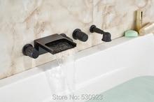 Nueva ee.uu. envío gratuito 5 unids Retro Style bañera grifo cascada aceitado bronce mezclador grifo W / ducha de mano pulverizador de montaje en pared