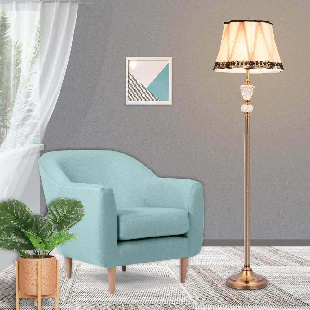 HuaXinV LED светильник торшер лампа, Berg кристалл античный латунный торшер, волна светодиодный абажур ручной работы ткань классический стиль Lampsh