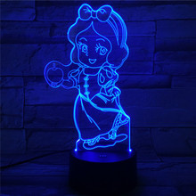 Princess Snow White Figure Usb 3d Led Night Light 7 Color Changing Lighting Lamp Girls Child Kids Baby Gifts Table Lamp Bedside fairy tale mermaid princess 3d lamp 7 color led night lamp for kids touch remote usb table lamp baby sleeping night light