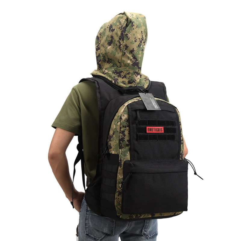 ФОТО OneTigris 1000D Nylon MOLLE Hoodie Backpack with Removable Hood Adventure Outdoor Sport Pack Rucksack Bag With Hat For Hiking