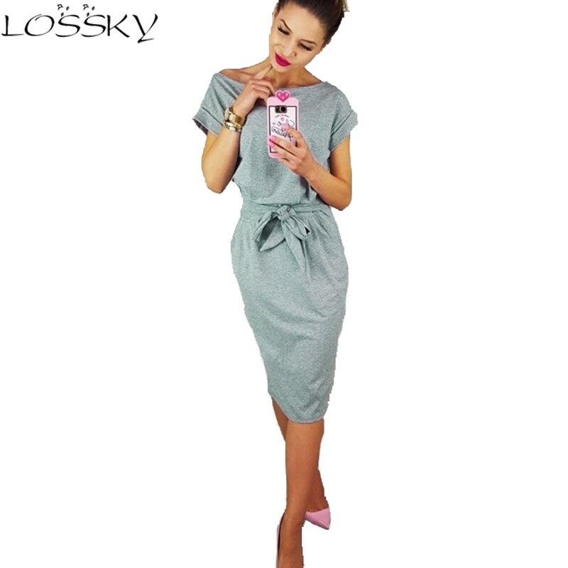 Women Summer Dress Short Sleeve Pocket Casual Office Ladies Dresses With Belt  2018 New Fashion Solid Color OL Female Vestidos short dresses office wear