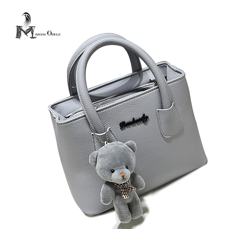 ФОТО New Bags Women Handbags Lady Solid Color Leather Handbags, Cute Bear Pendant Pretty Girl Handbags
