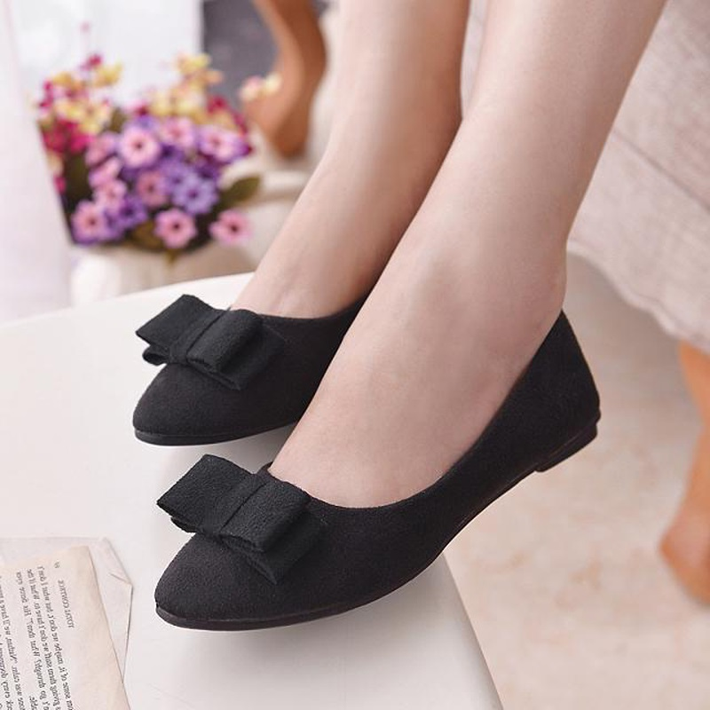 Women Korean Round Toe Ballets Flats Spring Autumn Fashion Shoes Loafers Slip On Casual Suede Bowknot Comfy Footwear 8H0317