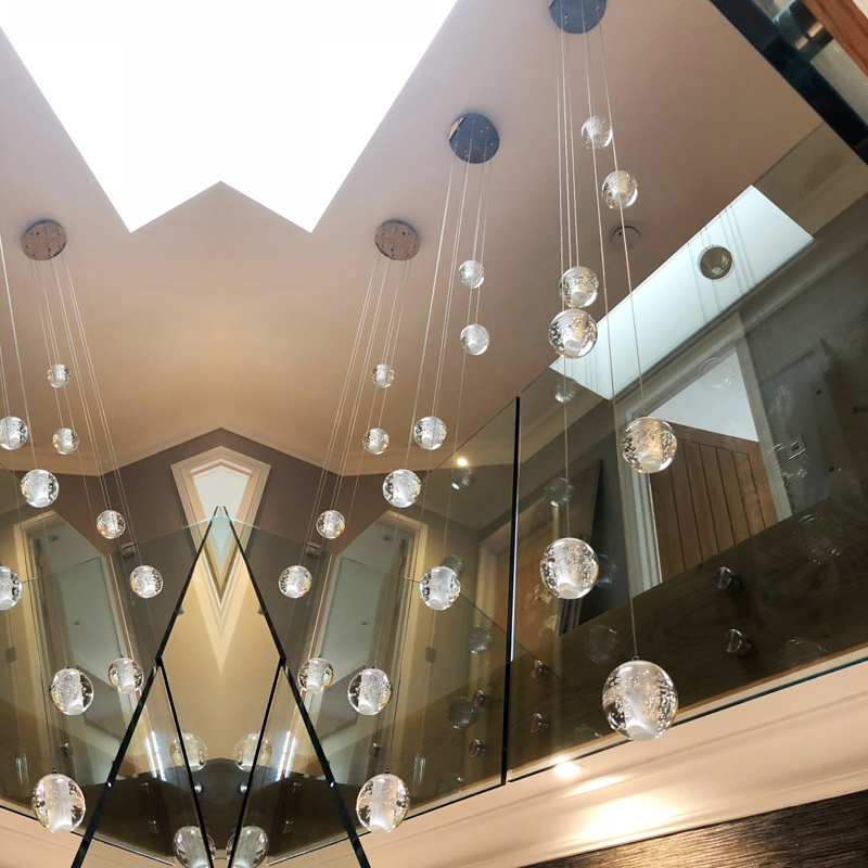 Modern LED crystal chandelier lights Round chandeliers for Living room Hall Stairwell Crystal ball 7 lamp with LED Bubbles led crystal chandeliers lamp round ring hanging lights modern led crystal chandelier fixture for living room lobby ac110v 240v