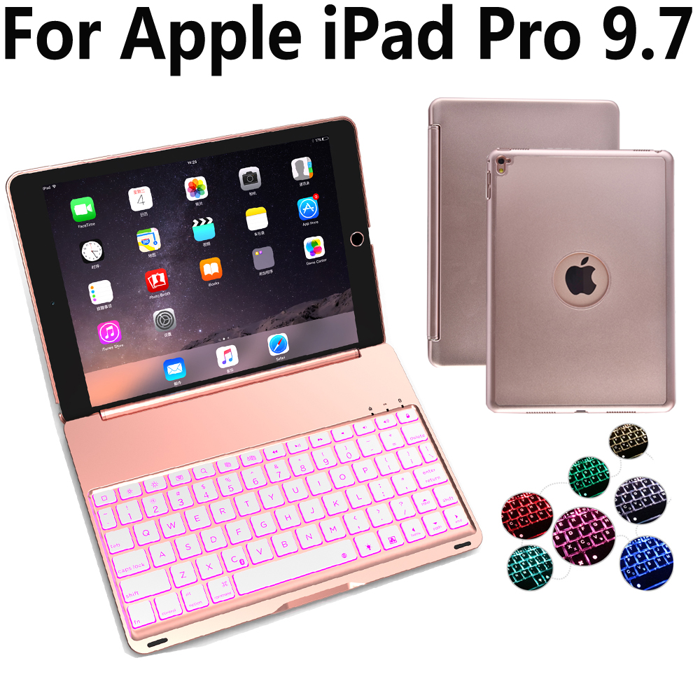 7 Colors Aluminum Wireless Bluetooth Keyboard Cover Case for Apple iPad Pro 9.7 A1673 A1674 with Screen Protector Film Stylus7 Colors Aluminum Wireless Bluetooth Keyboard Cover Case for Apple iPad Pro 9.7 A1673 A1674 with Screen Protector Film Stylus