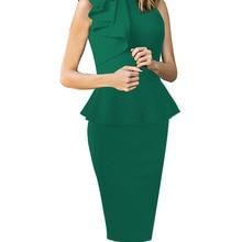 465a9debd4 Vfemage para mujer elegante vestido Peplum sin mangas delgado para usar en  el trabajo de oficina de negocios fiesta Bodycon lápi.